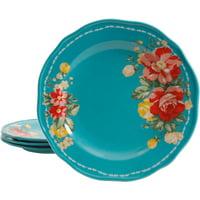 """The Pioneer Woman Vintage Floral Teal 8.5"""" Salad Plate Set, Set of 4"""