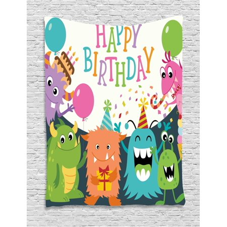 Baby Sports Wall Hanging - Kids Birthday Tapestry, Little Baby Monsters with the Party Cones Confetti Rain and Balloons Image, Wall Hanging for Bedroom Living Room Dorm Decor, Multicolor, by Ambesonne