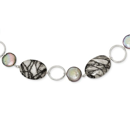 - 925 Sterling Silver Circles Freshwater Coin Cultured Pearl and Zebra Jasper Necklace 16inch