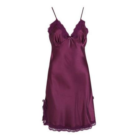 d141a31e0048 Women Satin Silk Lace Lingerie Pajamas Night Dress Nightgown Sleepwear -  Walmart.com
