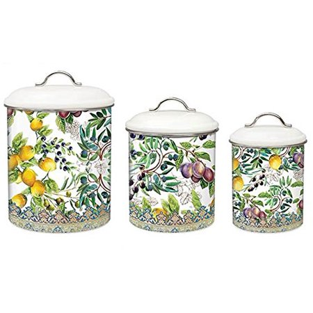3-Piece Metal Kitchen Canister Set, Tuscan Grove, Set of 3 ...