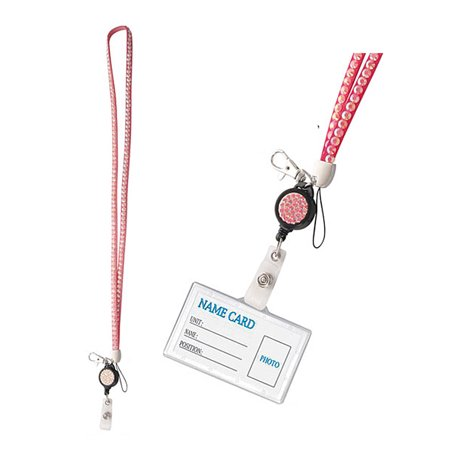 Light Pink Colored Lanyard With Rhinestone Sequence and Retractable ID Reel - Pink Lanyards