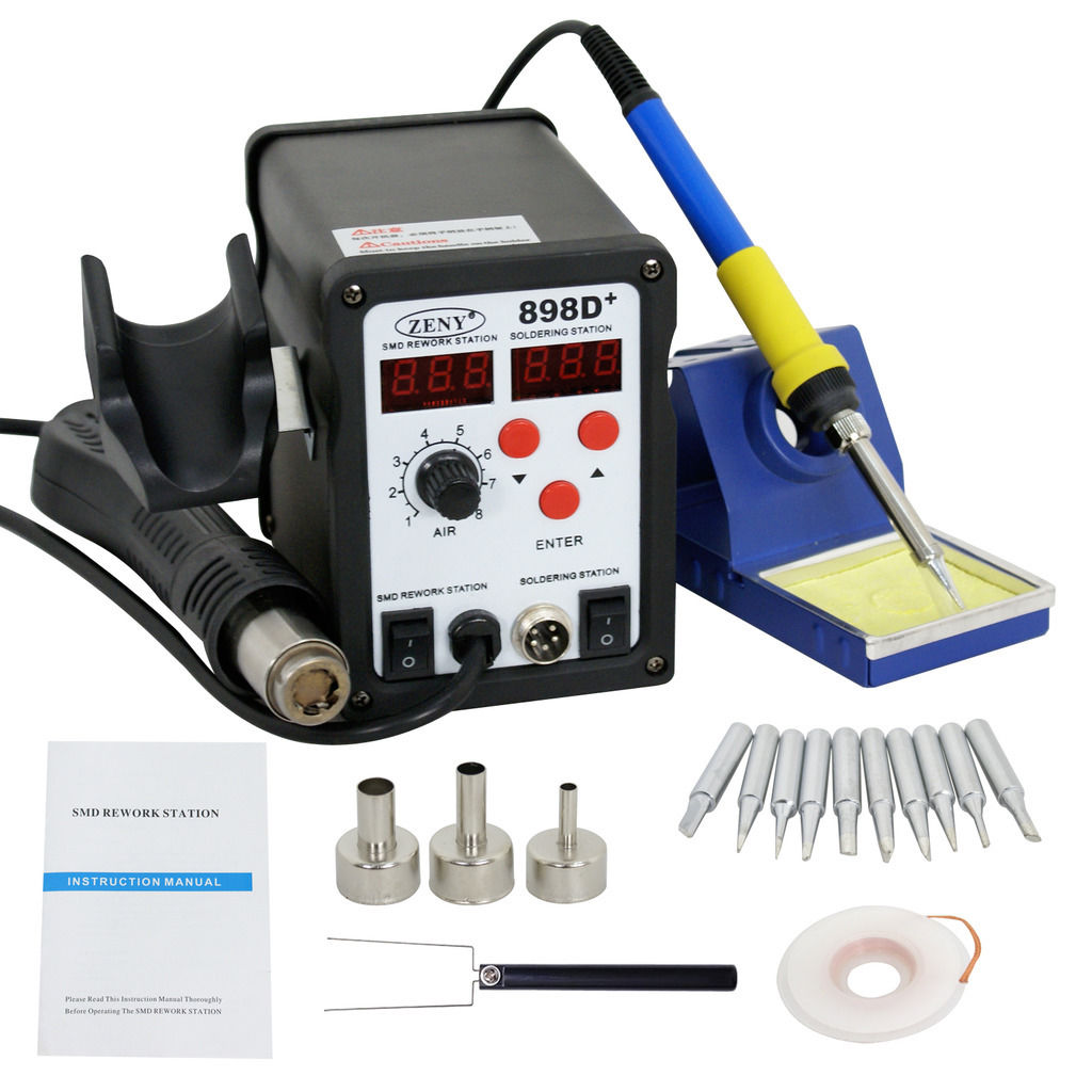 Zeny Latest 2in1 SMD Soldering Rework Station Hot Air & Iron 898D+ 11Tips ESD PLCC