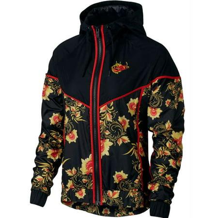 Nike Womens Sportswear Floral Print Windrunner Jacket Navy/Black New (Black,XS)