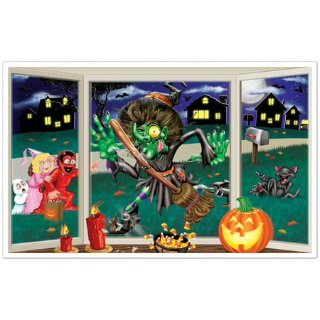 Halloween Crashing Witch Insta View 3ft.2in. X 5ft. 2in. (1/pkg) - Halloween View London