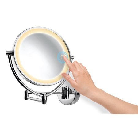 Ovente Wall Mount Mirror with 3 LED Lighting Tones (Daylight, Cool, Warm), 9.5 Inch, Battery or Cord Operated, 1x/10x Magnification, Polished Chrome (100 Polished Chrome Wall)