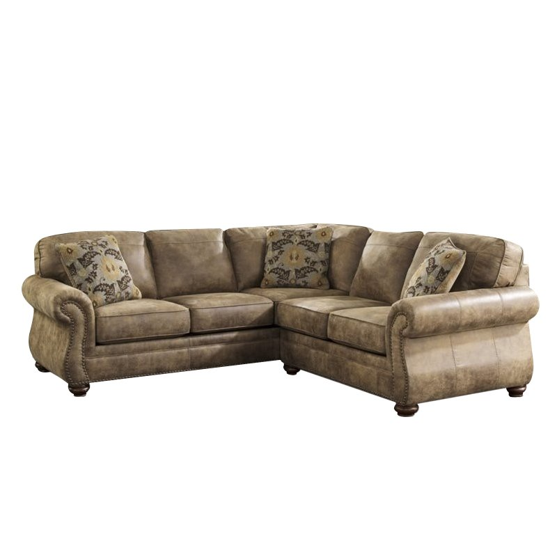 Ashley Larkinhurst 2 Piece Faux Leather Sectional in Earth by Ashley Furniture