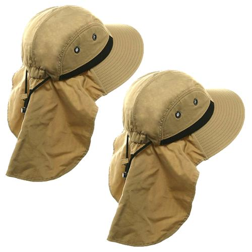 2 Boonie Hats With Neck Flap Sun Caps Head Giggles Buckets Adult Outdoor Fishing