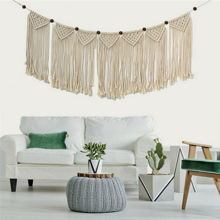 Bohemian Handmade Knitted Woven Macrame Wall Hanging Tapestry Home Bedroom Wedding Wall Art Decor
