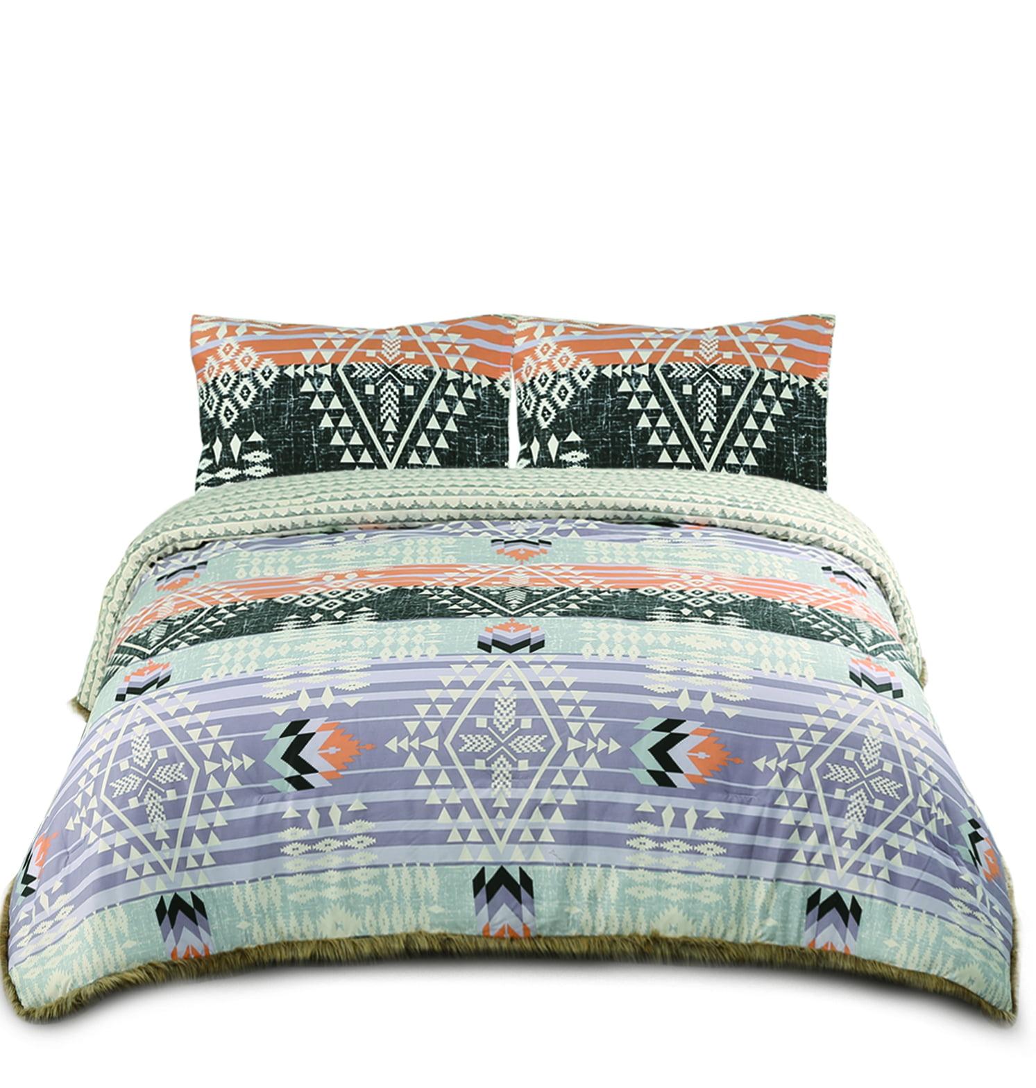 Muk Luks Bohemian Style Comforter Set With Fur Trim 2 Matching Shams Full Queen Size Peach Purple Walmart Com Walmart Com