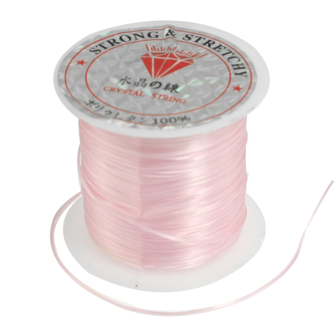 Jewelry Pendant Beading Thread Elastic Crystal String Cord Spool Pink 9M