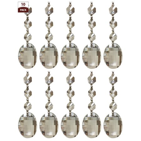 Royal Designs 10 Pack Chandelier Replacement Crystal Prisms Clear Oblate Cut Three Bead Chrome