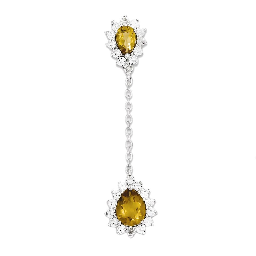 925 Sterling Silver Whiskey Quartz & Diamond Double Pear Flower Pendant Charm 0.02cttw
