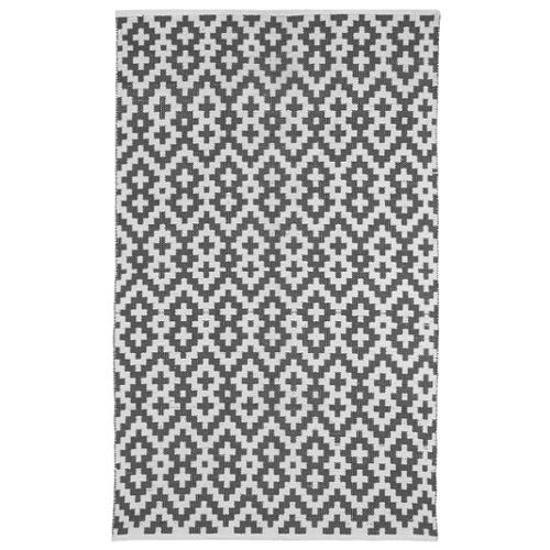 Fab Habitat Handmade Indo Samsara Charcoal Grey and White Geometric Area Rug (4' x 6')