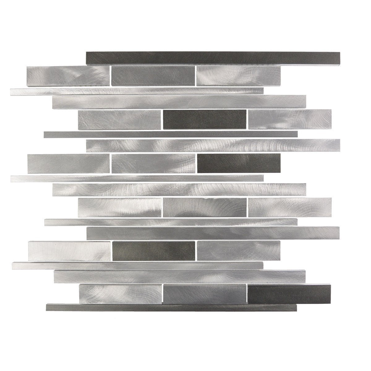 Abolos- City Lights New York Random Sized Aluminum Mosaic Tile in Glazed Silver (11sqft -11pc Box)