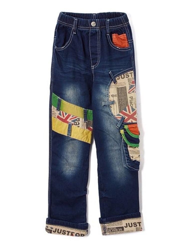 Rock'nStyle Baby Boys Blue British Flag Detail Pockets Denim Pants