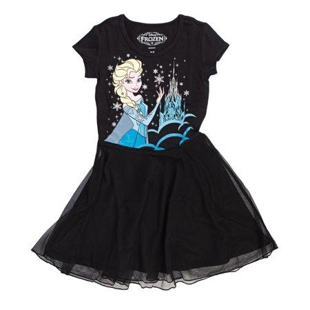 Disney Frozen Queen Elsa Girls Black Tulle Dress   - Elsa Ice Queen Dress