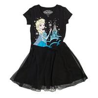 Disney Frozen Queen Elsa Girls Black Tulle Dress | L