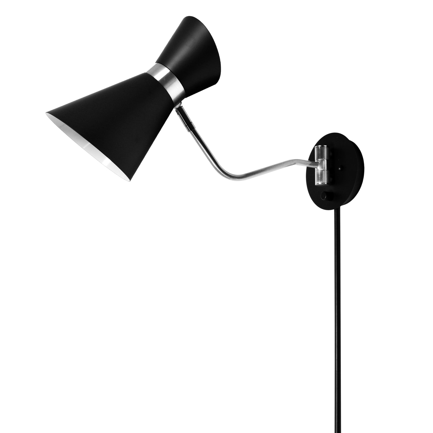 Dainolite 1 Light Wall Lamp, Black & Polished Chrome Finish by Dainolite Ltd