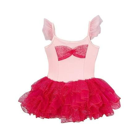 Hot Girl Halloween (Girls Pink Hot Pink Angel Sleeve Bow Tutu Halloween Dress)