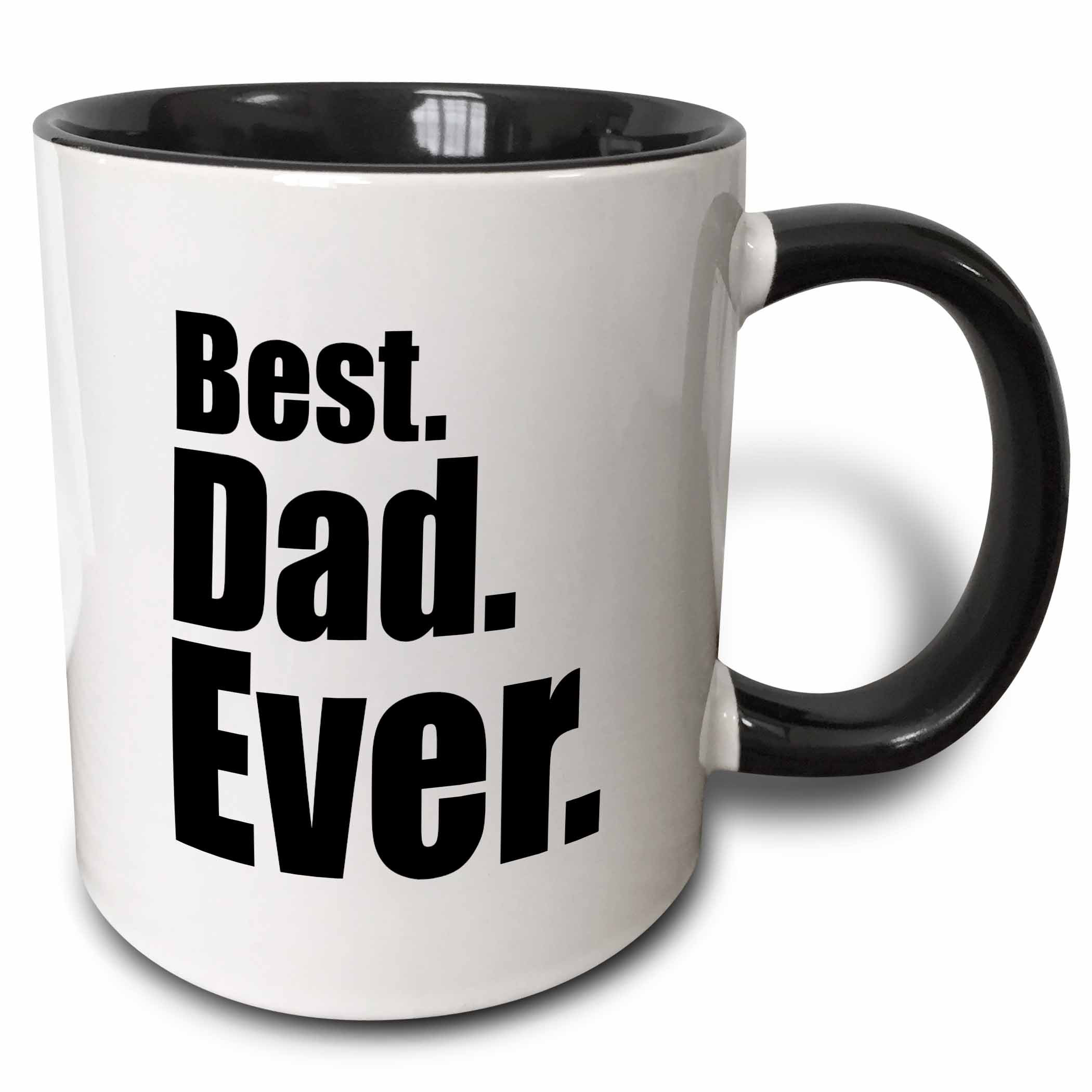 3dRose Best Dad Ever Two Tone Black Mug, 11-ounce by 3dRose