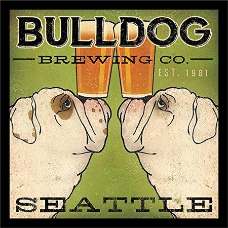 Brew Beer Art Print (IF WAP 16240 12x12 1.5 Black Glass Framed Bulldog Brewing Co Seattle Ryan Fowler 12X12 Bulldogs Beer Signs Dogs Animals Art Print Poster Wall Decor..., By Buyartforless Ship from US)