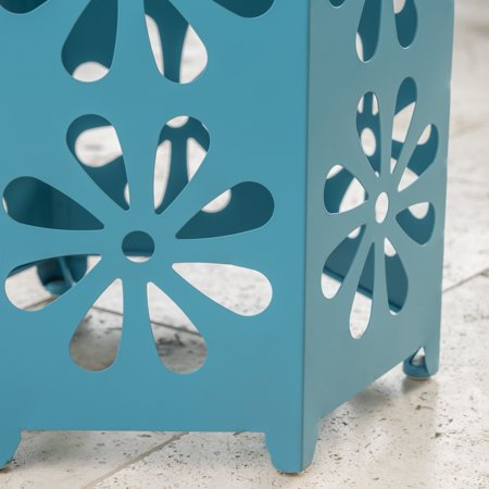 Ellison Outdoor 12 Inch Iron Floral Side Table, Matte Blue