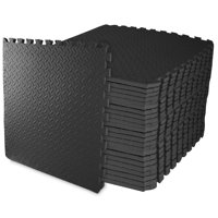 "3/4"" Thick Flooring Puzzle Exercise Mat with High Quality EVA Foam Interlocking Tiles, 24 Piece, 96 Sq Ft, Black"