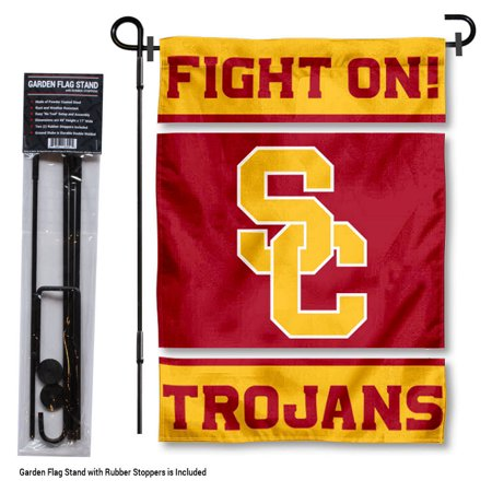 (Southern Cal USC Trojans Fight On Garden Flag and Flag Holder Set)