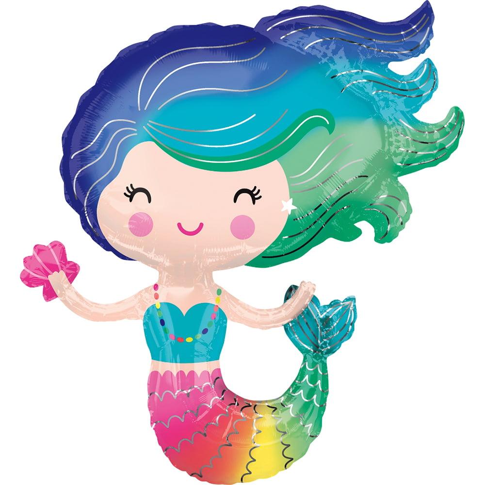"Colorful Little Mermaid Foil Balloon 30"""