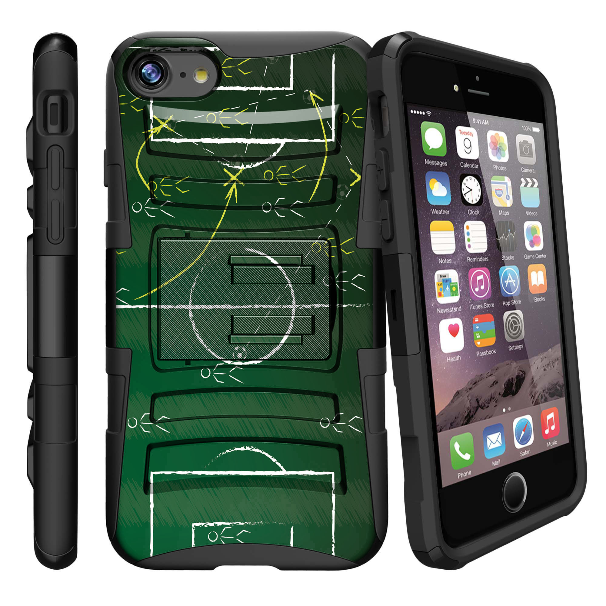 Apple iPhone 7  Case Shell [Clip Armor]- Premium Defender Case Hard Shell Silicone Interior with Kickstand and Holster by Miniturtle® - Soccer Play