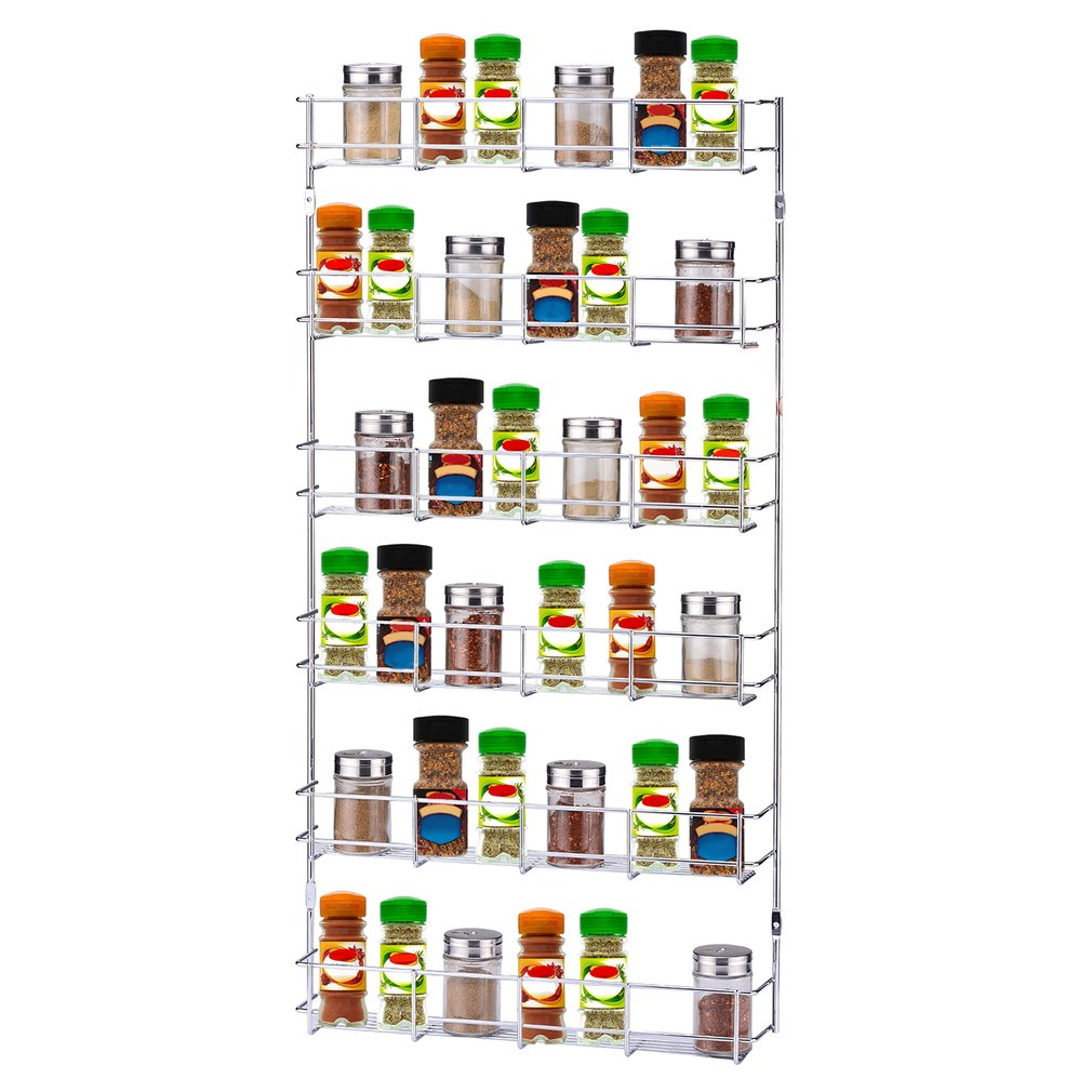 6 Layers Metal Spice Rack Kitchen Door Wall Mounted Storage Shelf Multipurpose Pantry Holder Cabinet Organizer