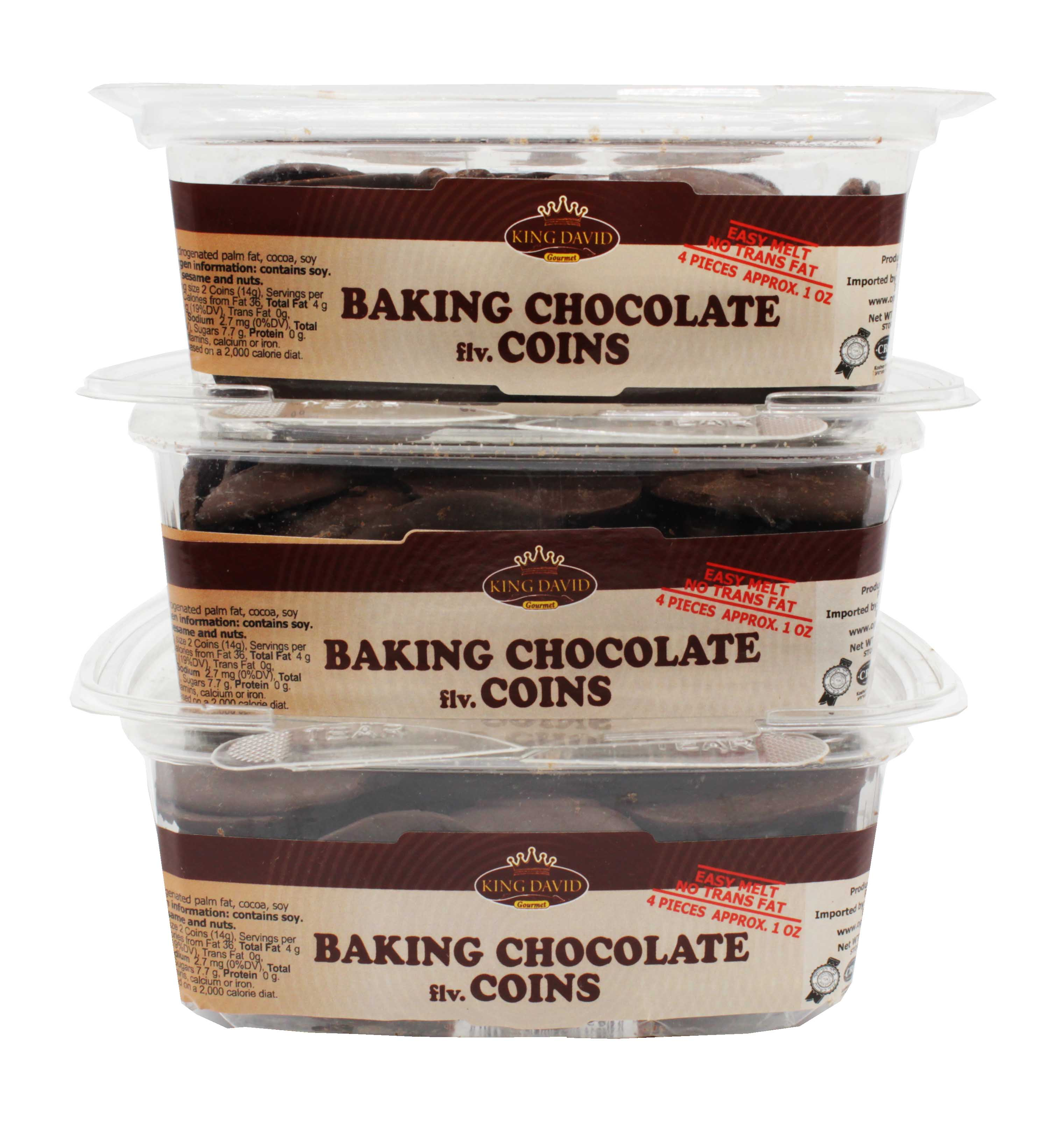 King David Kosher Easy Melt Baking Chocolate Coins 12.34-ounce Jars (Pack of 3) by King David