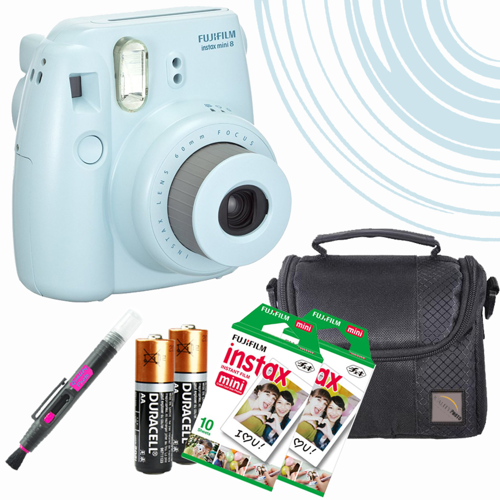 Mini 8 Instant Film Camera (Blue) - 20 Instant Film -quality photo Case - batteries - spray/brush pen