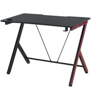 HOMCOM 55 inch Gaming Computer Desk Workstation Centor Racing Writing Table with Headphone Hook Cup Holder Curved Front Adjustable Feet for Home Office Use