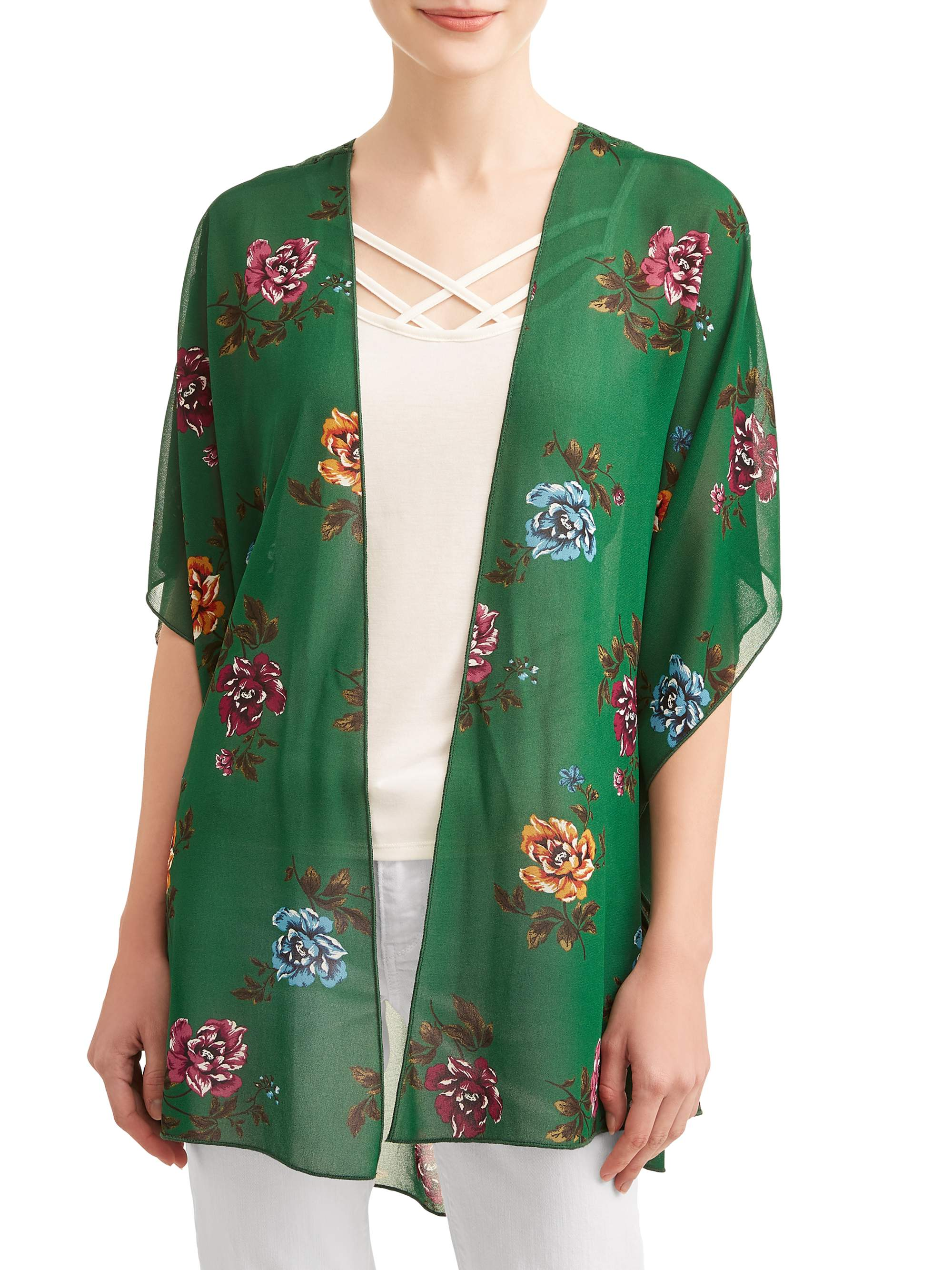 Juniors' Floral Printed Kimono & Caged Cami 2Fer