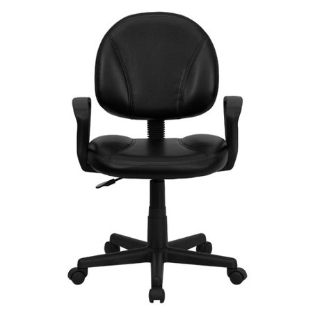 Leather Ergonomic Task Chair With Arms   Adjustable Seat  Black