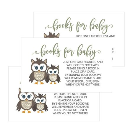 25 Owl Books For Baby Request Insert Card For Boy or Girl Woodland Baby Shower Invitations or invites Cute Bring A Book Instead of A Card Theme For Gender Reveal Party Story Games, Business Card Sized - Owl Boy Baby Shower
