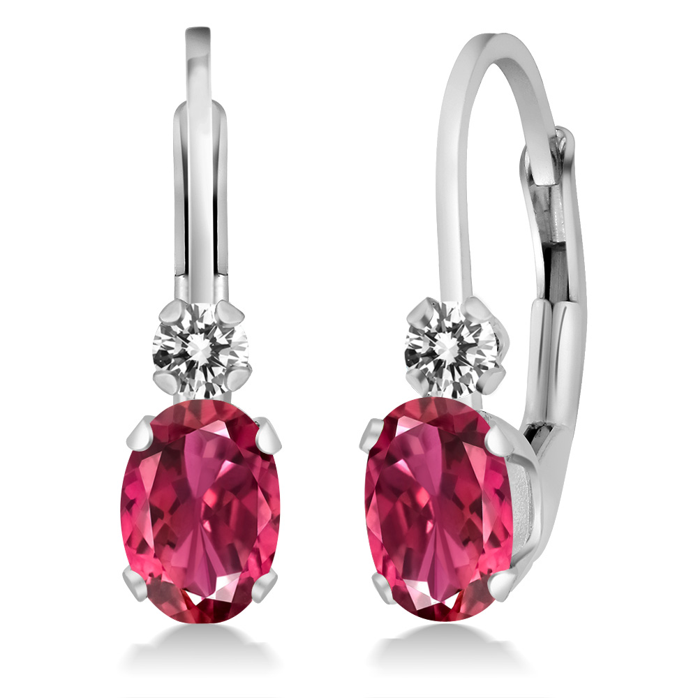 0.83 Ct Oval Pink Tourmaline AAA White Diamond 14K White Gold Earrings by