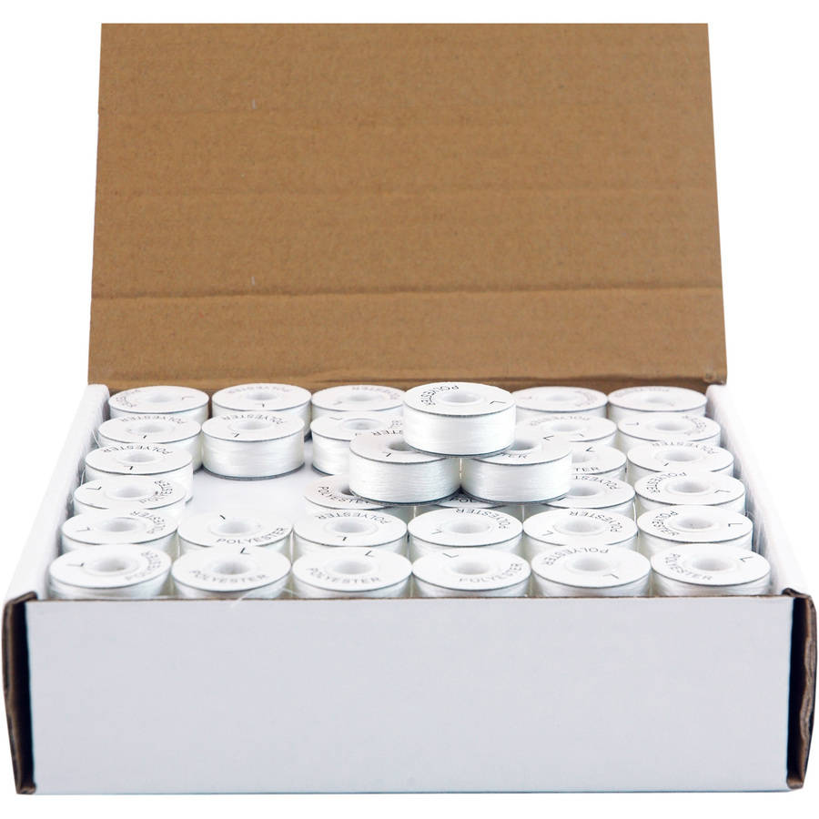 Threadart White L Style Paper Sided Prewound Embroidery Bobbins- 144 count, 144 Count