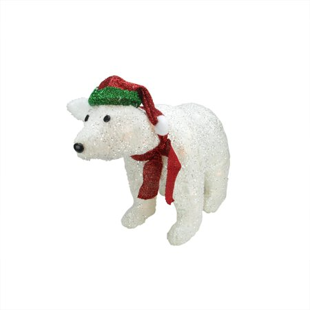 """23"""" Lighted White Glittered Polar Bear Christmas Outdoor ..."""
