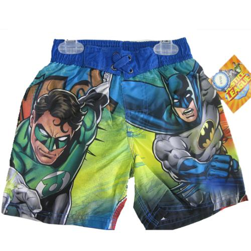 Batman Little Boys Green Navy Justice League Print Swim Wear Shorts 2T
