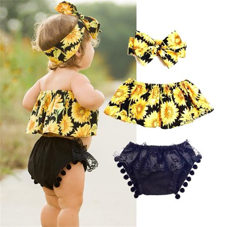 Infant Toddler Baby Girls Sunflower Crop Tops + Ruffled Lace Baby Bloomers + Headband 3Pcs Outfits Set Clothes 0-6 Months
