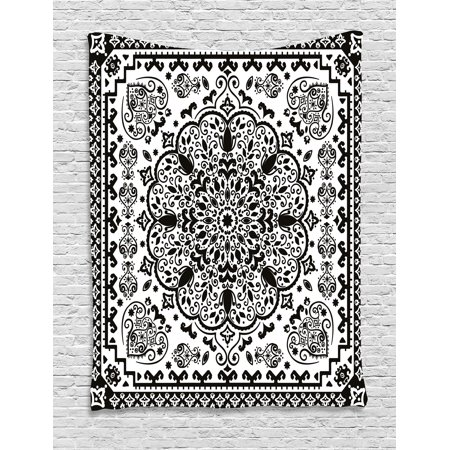 India Tapestry, Ethnic Mandala Floral Lace Paisley Mehndi Design Tribal Lace Image Art Print, Wall Hanging for Bedroom Living Room Dorm Decor, 40W X 60L Inches, Black and White, by