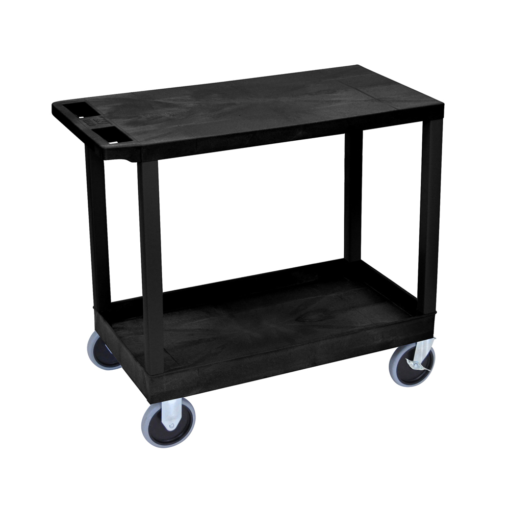 "Offex Black OF-EC21HD-B 18""x32"", Cart 1 Tub/1 Flat Shelves"