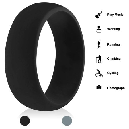 Silicone Ring for Men, Rubber Wedding Marriage Bands - Step Edge Sleek Design for Jewelry, Anniversary, Sports, Gym, Work, Black, 10.5-11(20.7mm) Mens Rubber Band