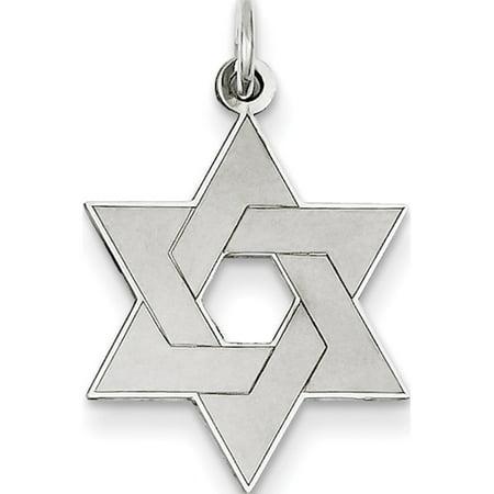 Leslies Fine Jewelry Designer 14K White Gold Laser Designed Star of David (17x26mm) Pendant Gift