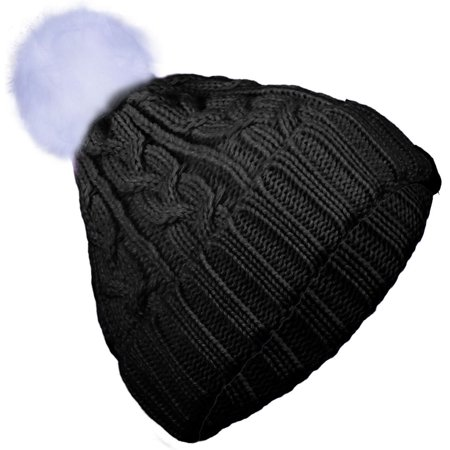 Basico Adult Junior Fur PomPom Winter Cable Knitted Beanie Soft Fited Hat