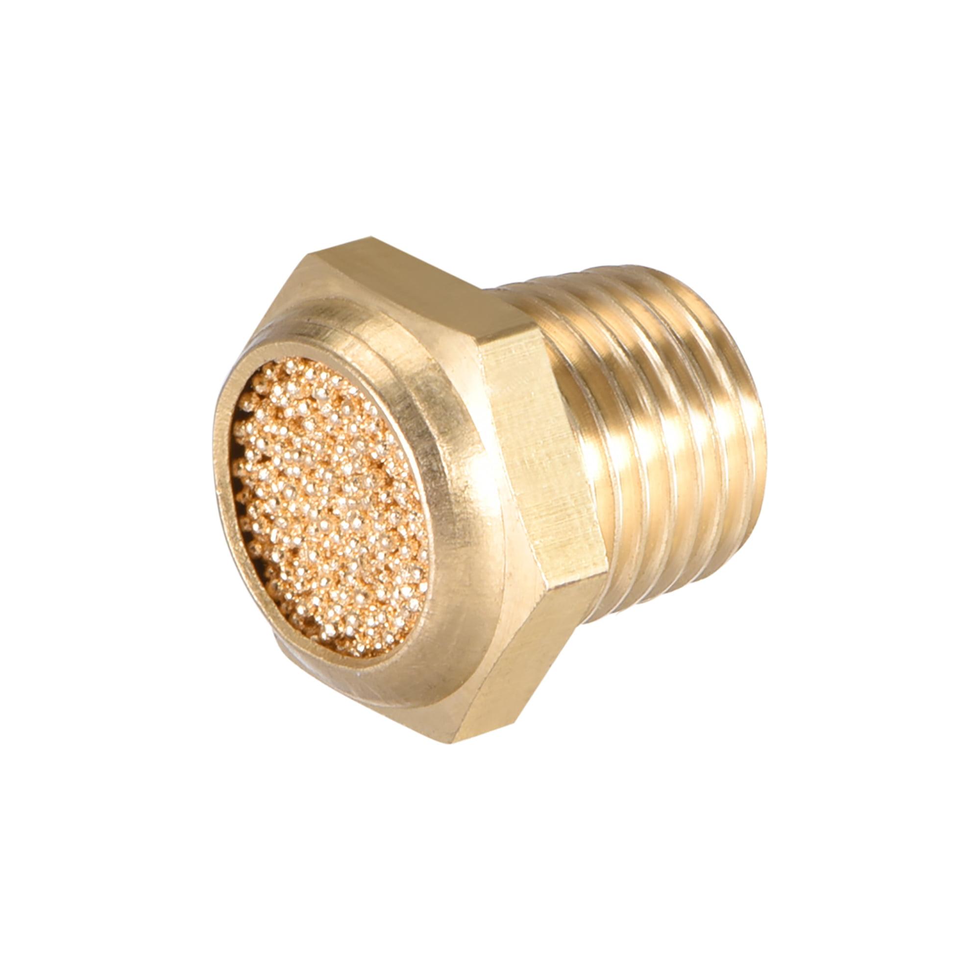 """Brass Exhaust Muffler, 1/8"""" G Male Thread 15/32"""" Hex Sintered Air Pneumatic Bronze Muffler with Brass Body Flat 10pcs - image 2 of 3"""