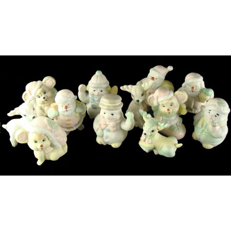 Club Pack of 144 Pastel Snowman, Deer, Santa Claus and Mouse Christmas - Snowman Figurines